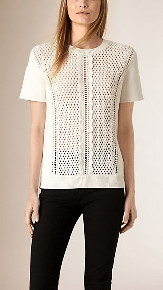 Knitted Cotton Lace T-shirt