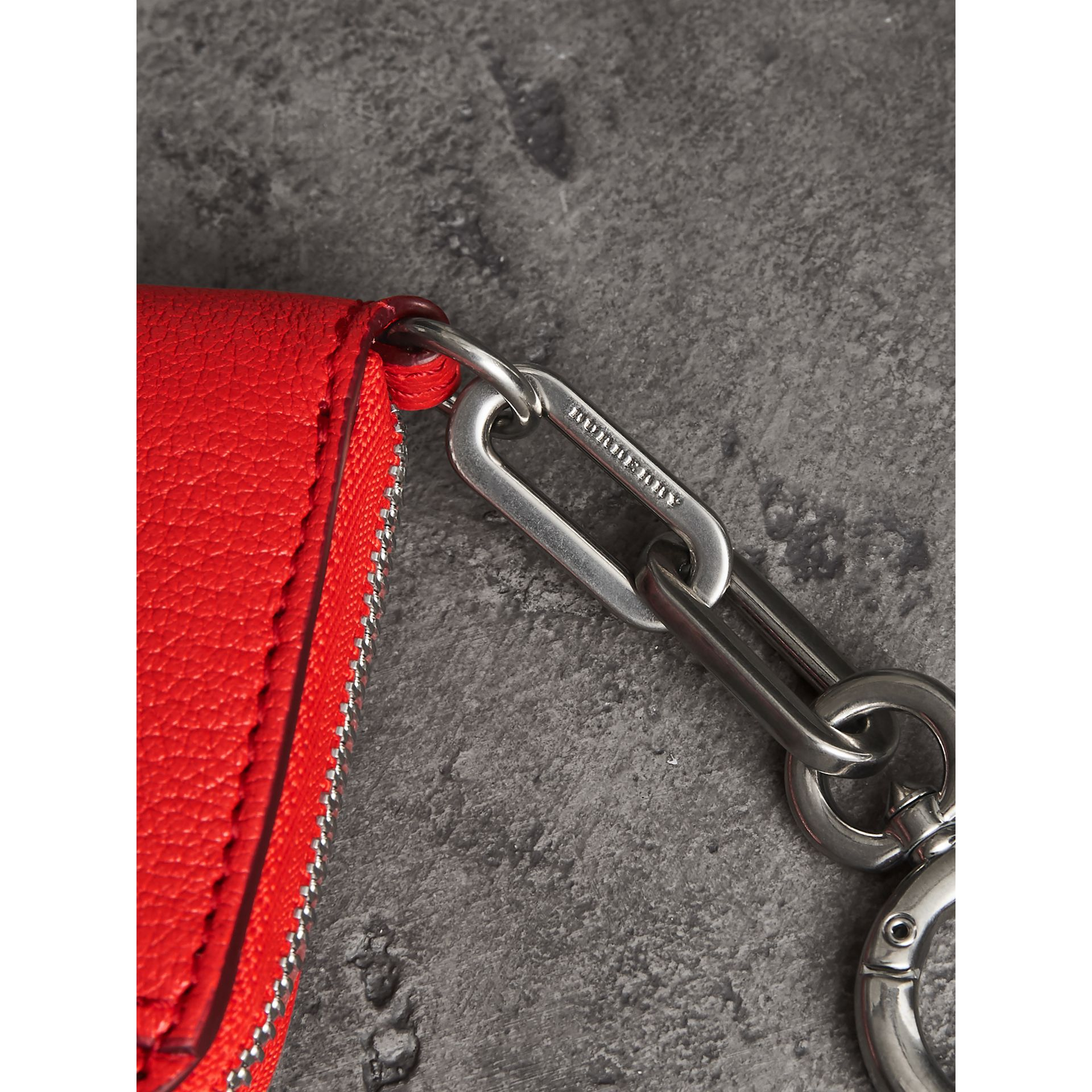 Link Detail Leather Ziparound Wallet in Bright Red | Burberry Australia - gallery image 1