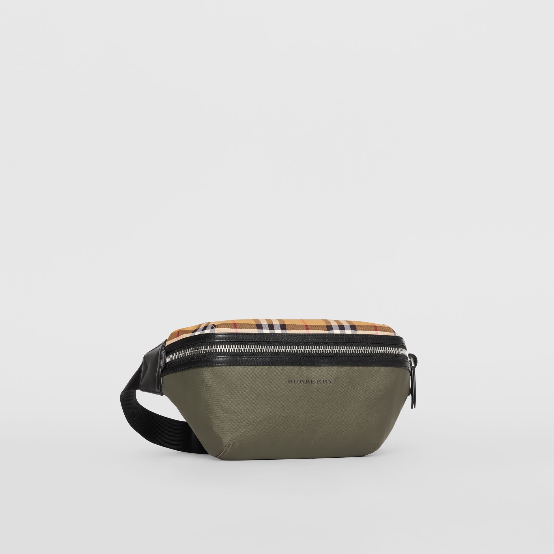 Medium Vintage Check and Nylon Bum Bag in Military Green | Burberry - gallery image 6