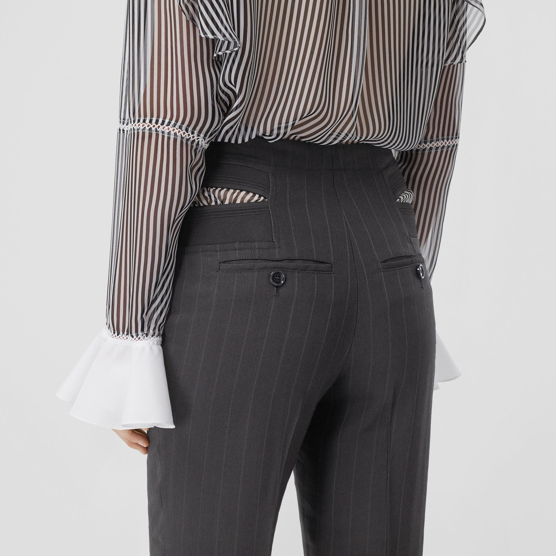 Pinstriped Technical Twill Reconstructed Trousers in Black - Women | Burberry United Kingdom - gallery image 4