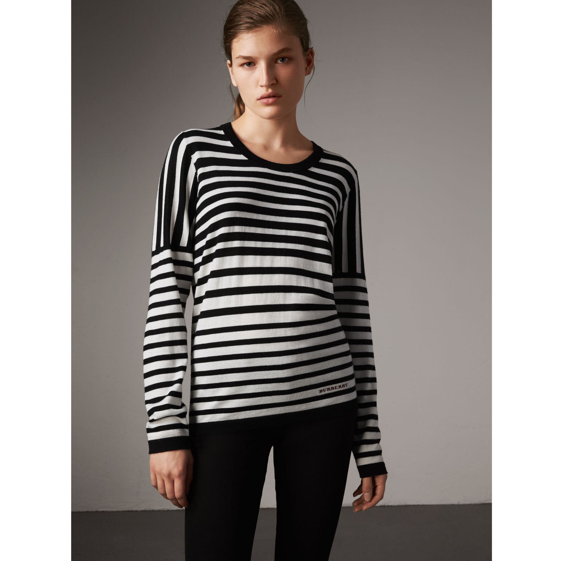 Graduated Stripe Merino Wool Sweater in Black/natural White - Women | Burberry - gallery image 1