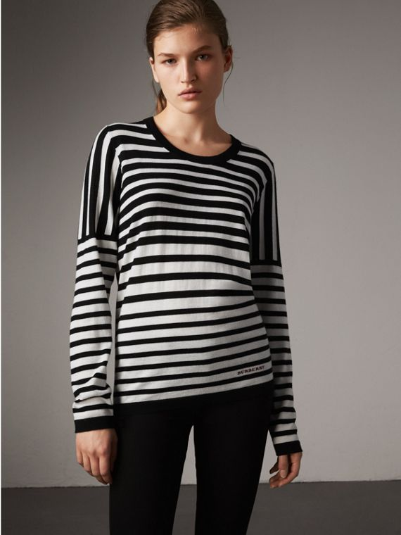 Graduated Stripe Merino Wool Sweater in Black/natural White - Women | Burberry Australia