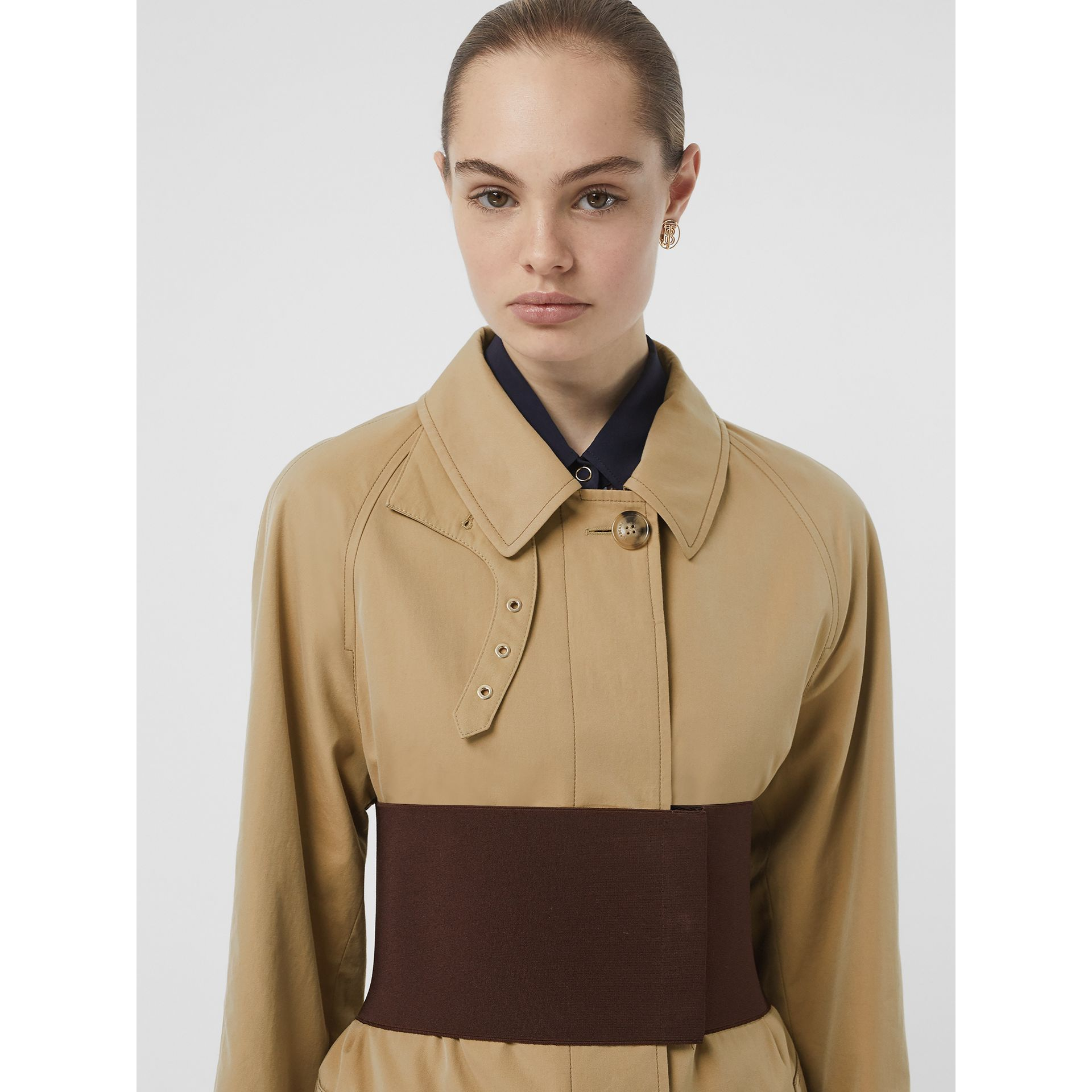 Corset-belt Cotton Gabardine Car Coat in Pale Honey - Women | Burberry - gallery image 7