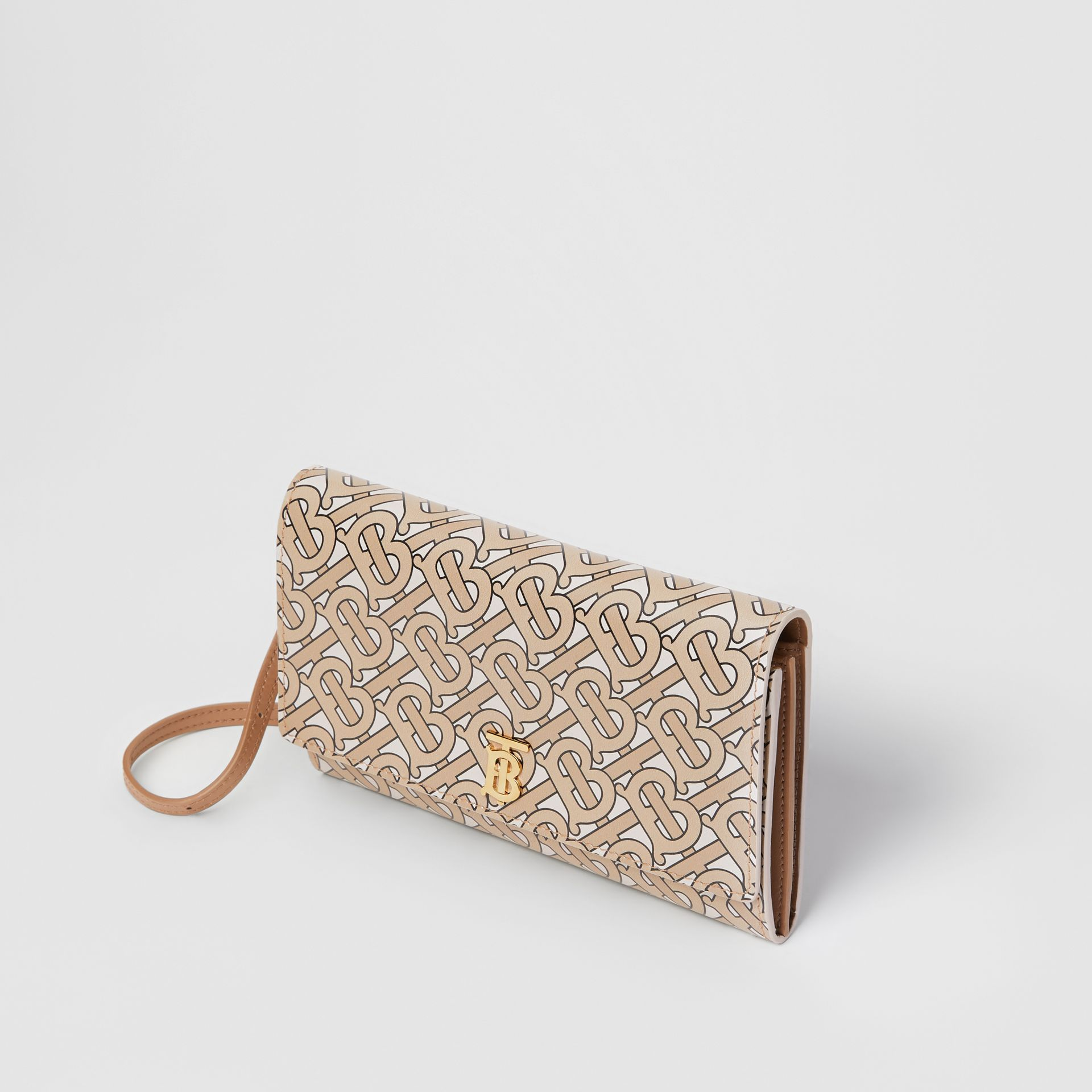 Monogram Print Leather Wallet with Detachable Strap in Beige - Women | Burberry - gallery image 3
