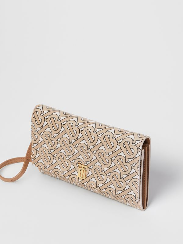 Monogram Print Leather Wallet with Detachable Strap in Beige - Women | Burberry - cell image 3