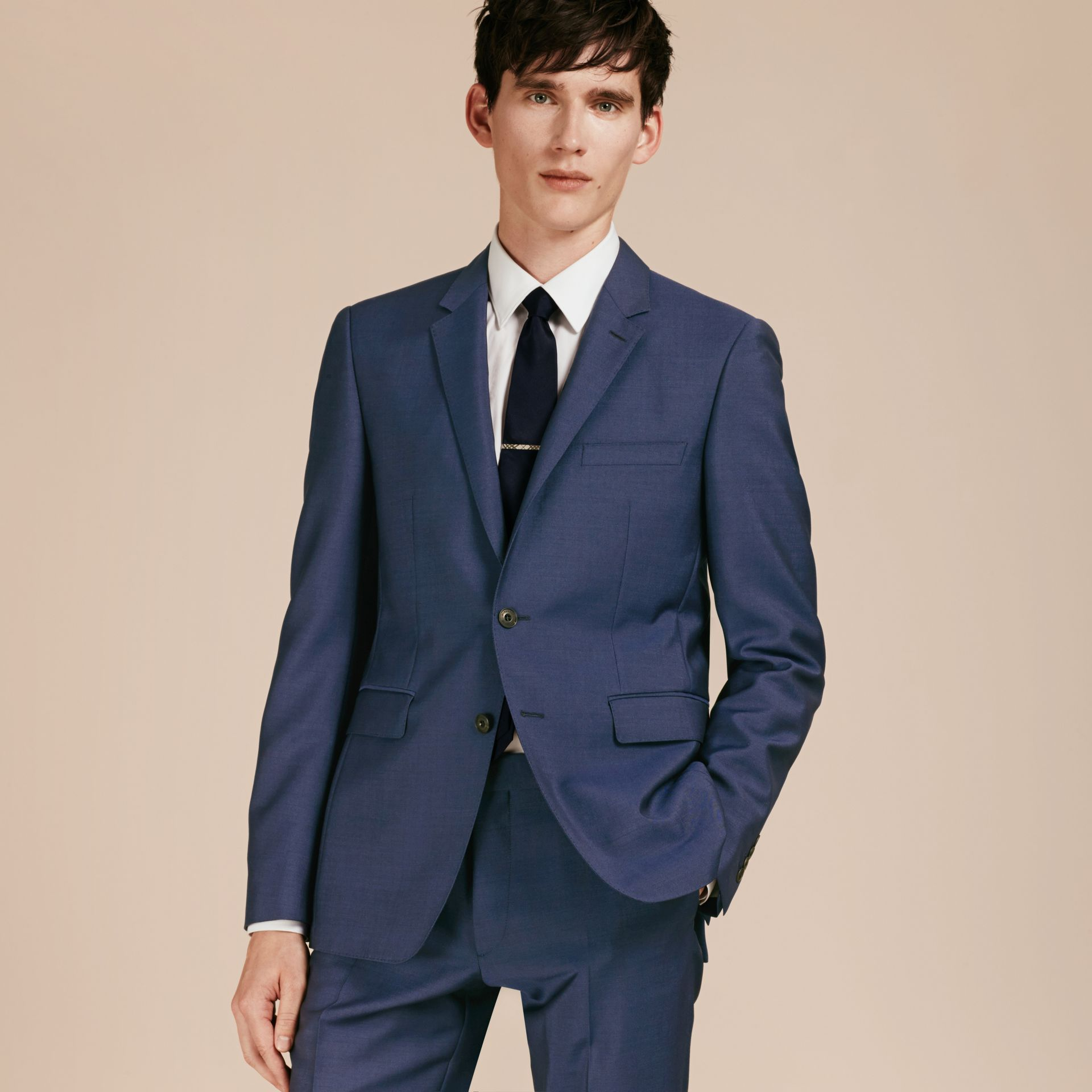 Dark canvas blue Slim Fit Wool Mohair Part-canvas Jacket - gallery image 8