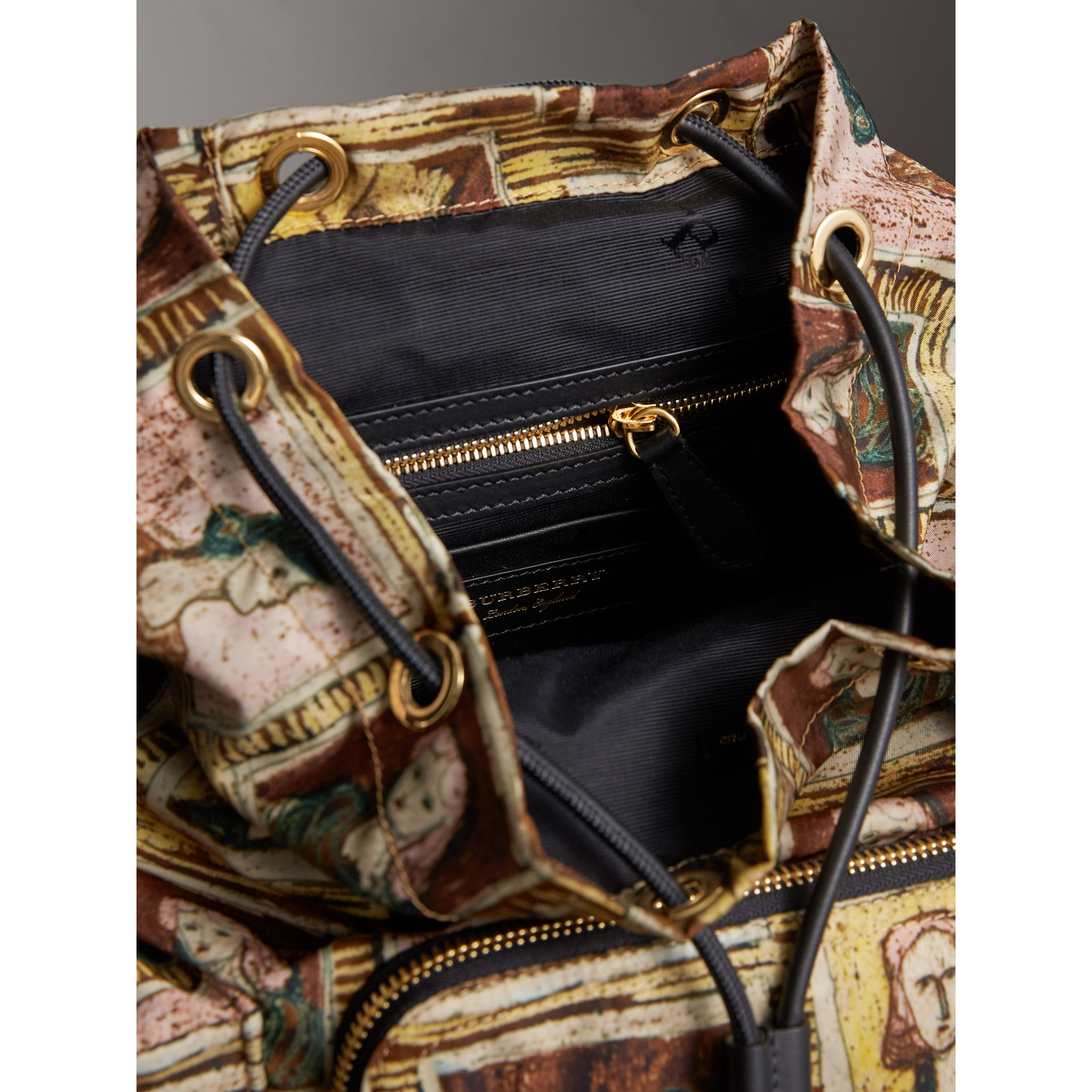 The Medium Rucksack in Framed Heads Print in Umber Brown - Women | Burberry - gallery image 5