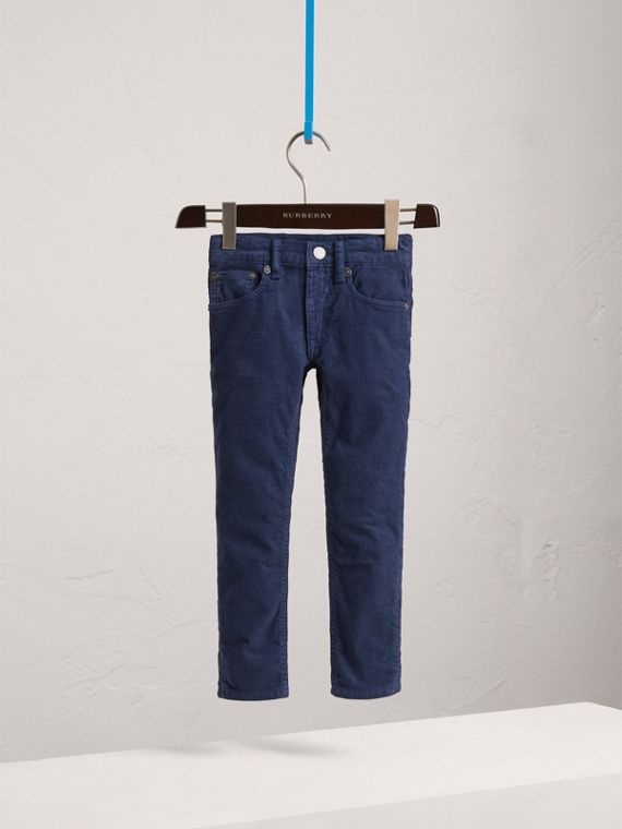 Skinny Fit Stretch Cord Trousers in Cobalt Blue - Boy | Burberry Hong Kong - cell image 2