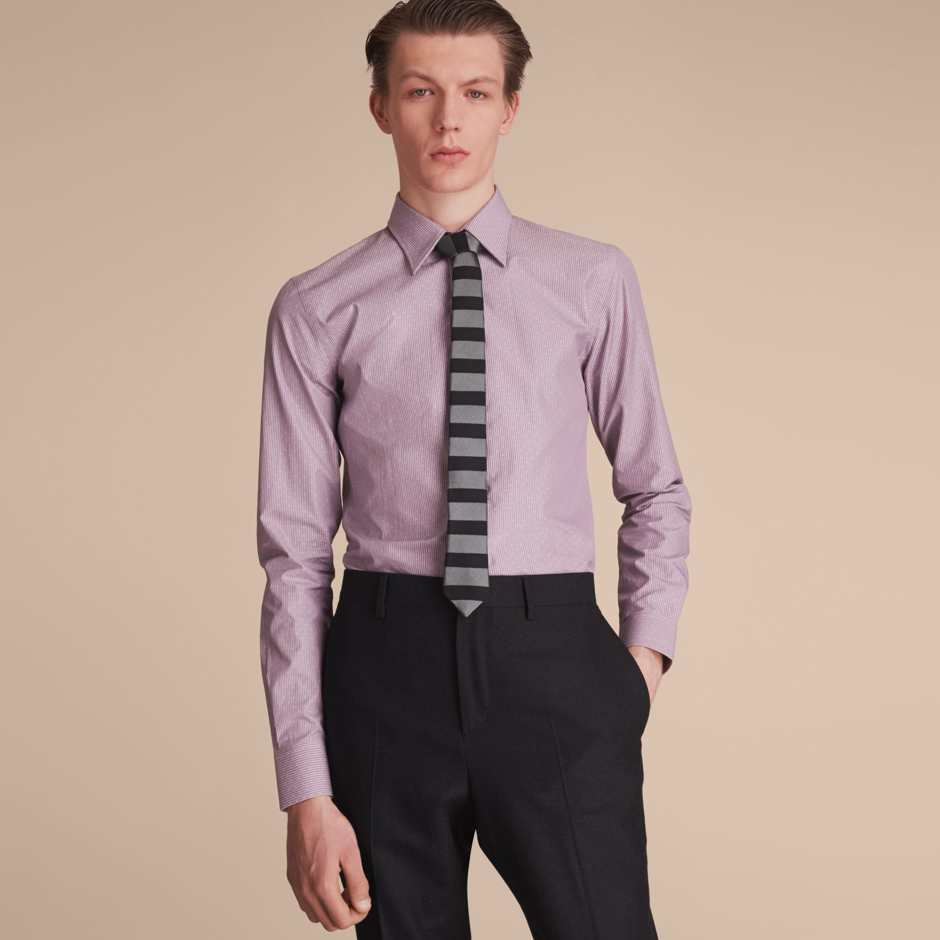 Slim Fit Striped Cross Dobby Cotton Shirt in Heather - Men | Burberry - gallery image 6