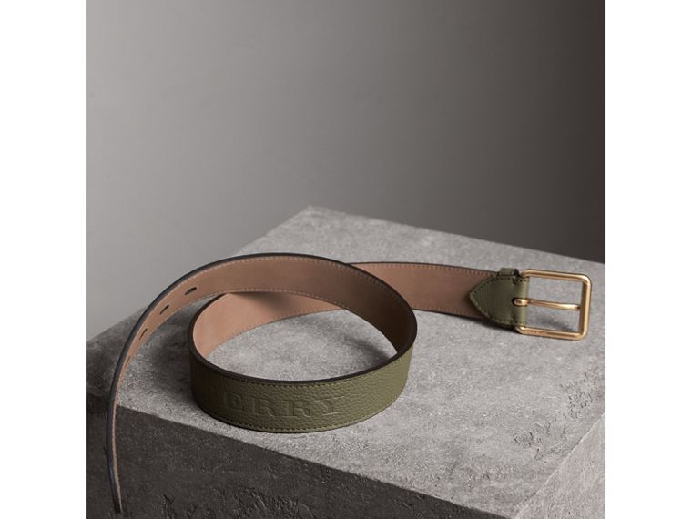 Grainy Leather Belt in Slate Green - Men | Burberry - cell image 2