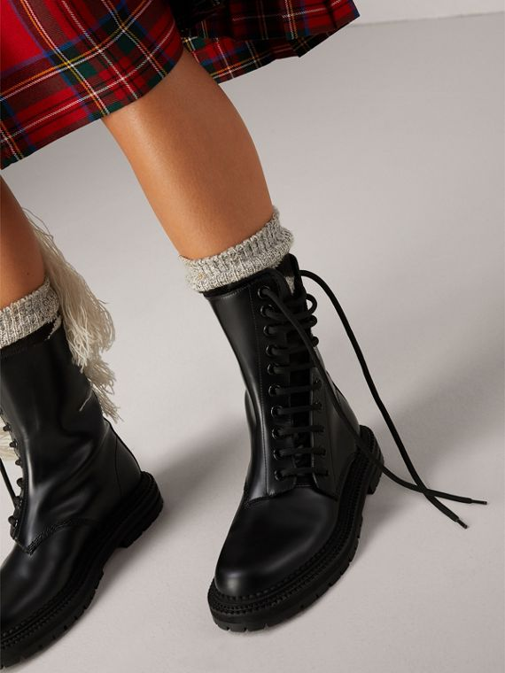 Leather Asymmetric Lace-up Boots in Black - Women | Burberry - cell image 2