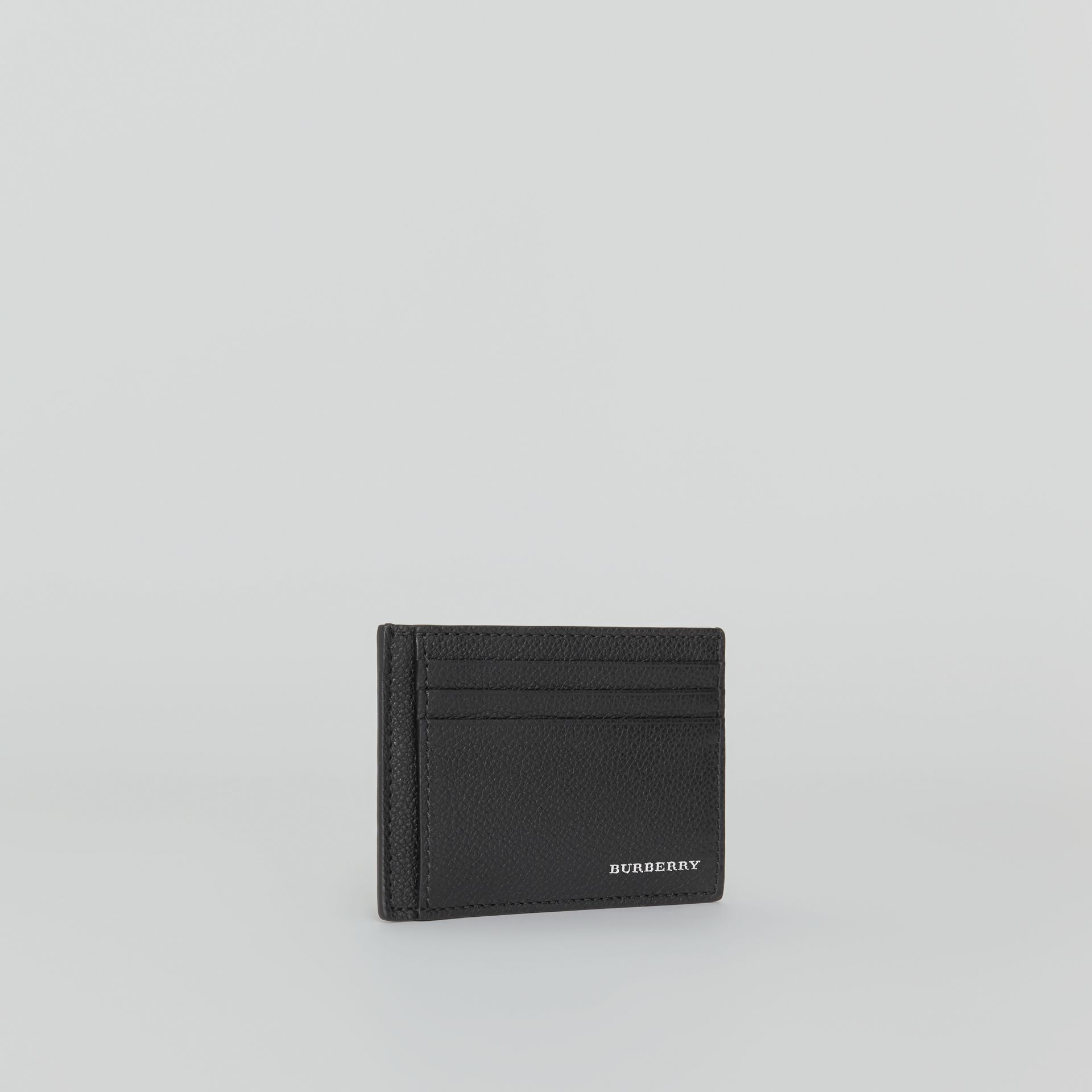 Grainy Leather Money Clip Card Case in Black - Men | Burberry - gallery image 3