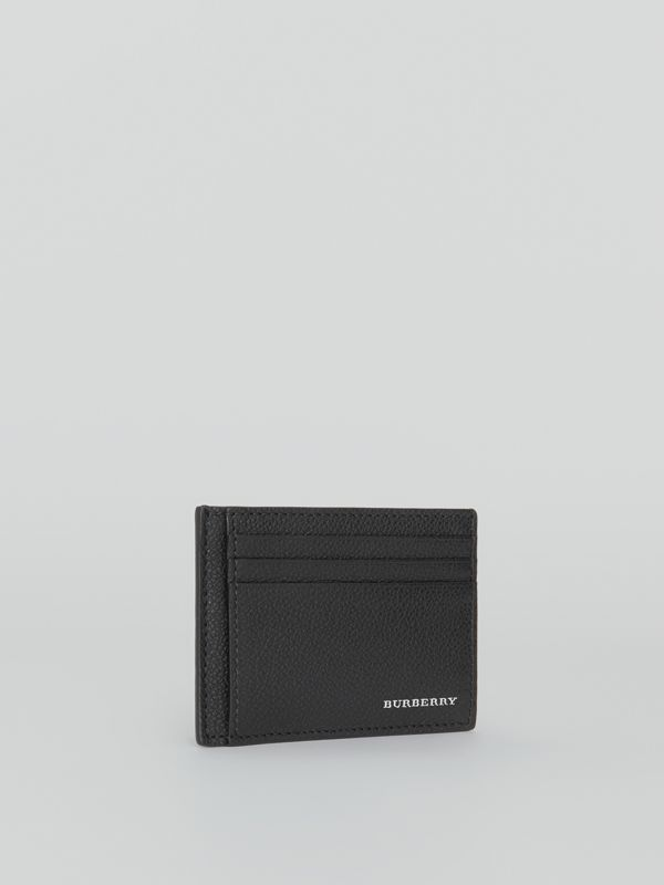 Grainy Leather Money Clip Card Case in Black - Men | Burberry - cell image 3