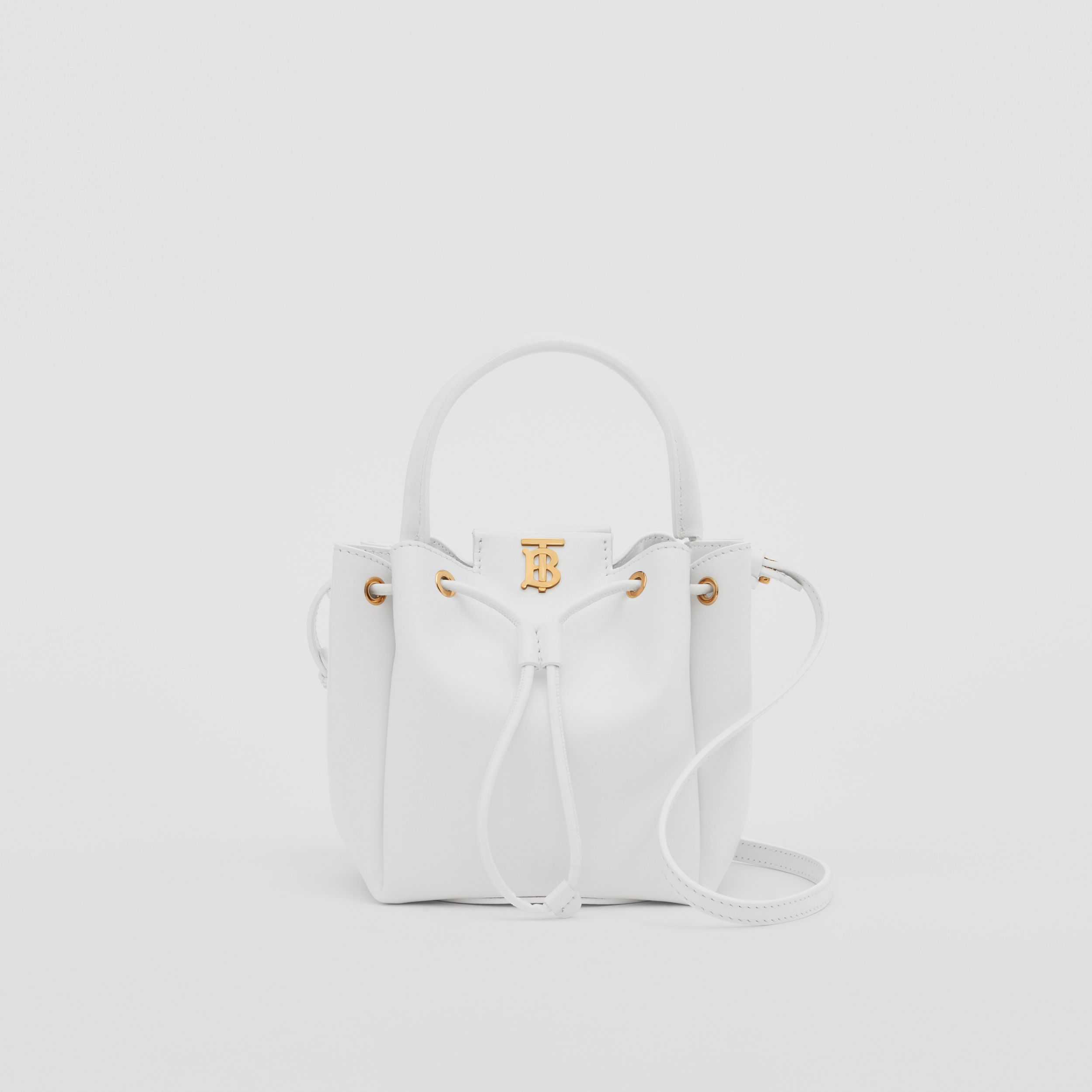 Monogram Motif Leather Bucket Bag in Optic White - Women | Burberry - 1