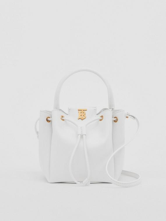 Monogram Motif Leather Bucket Bag in Optic White