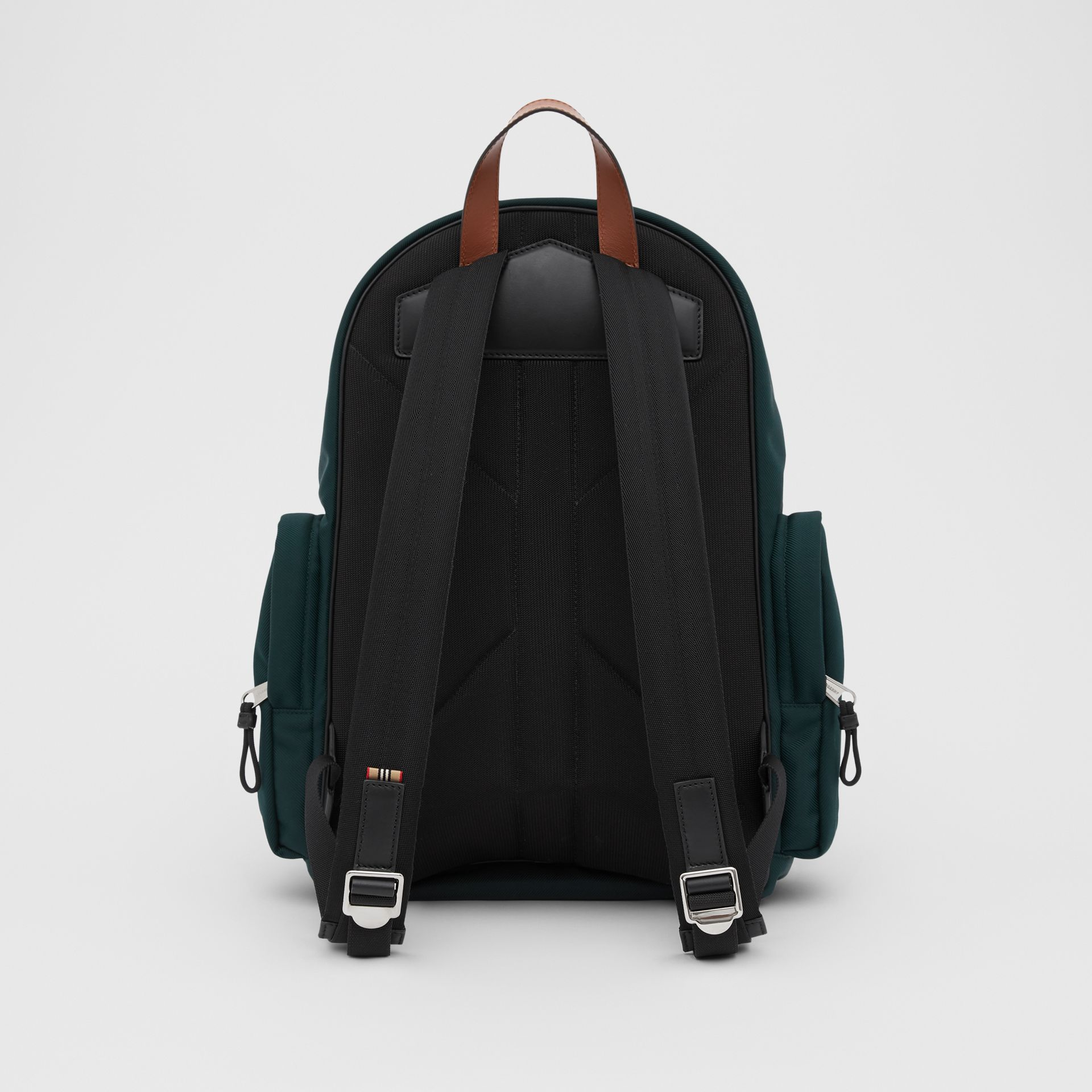 Large Leather Trim Nylon Nevis Backpack in Dark Pine Green | Burberry United States - gallery image 7