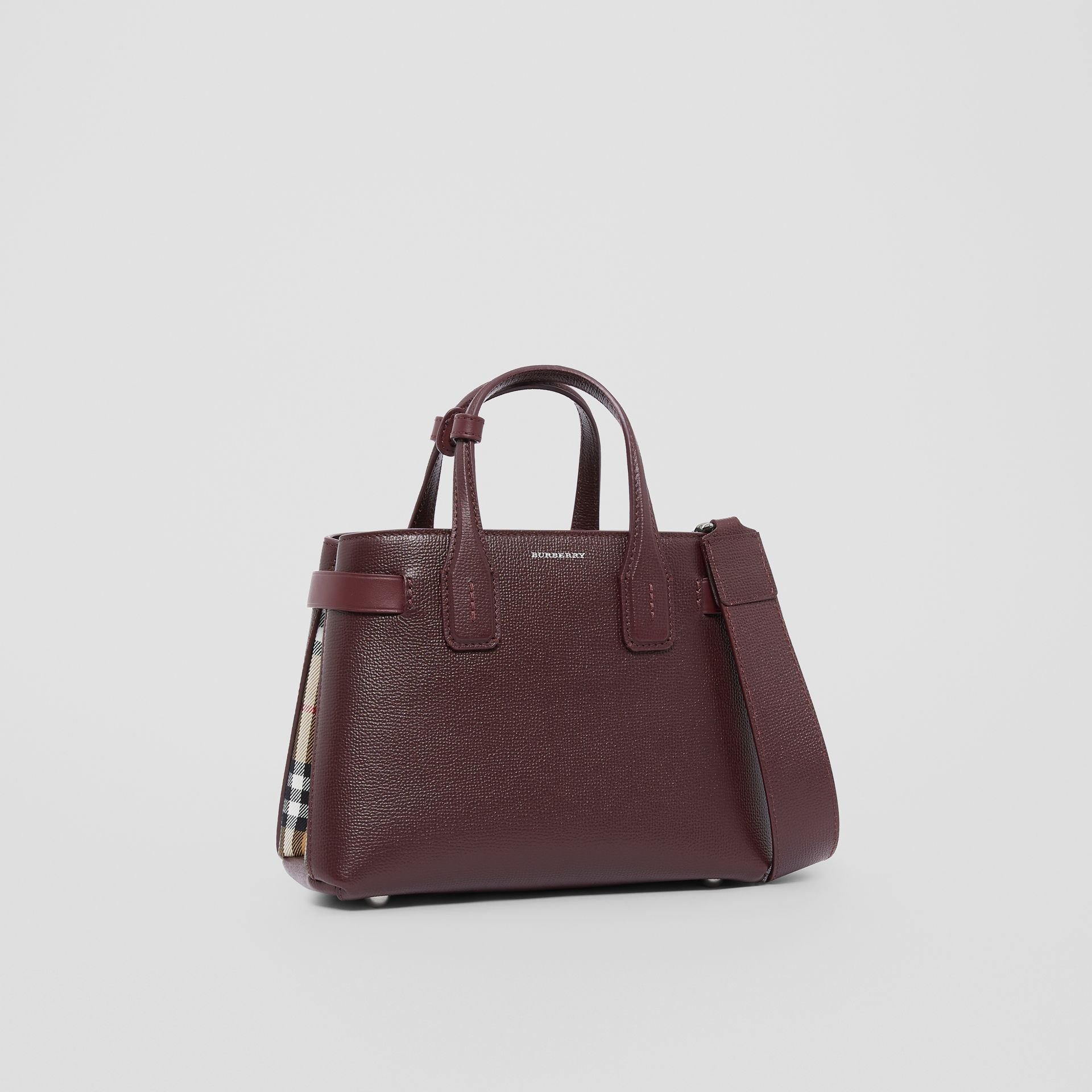 The Small Banner Bag in Leather and Vintage Check in Mahogany Red - Women | Burberry - gallery image 6