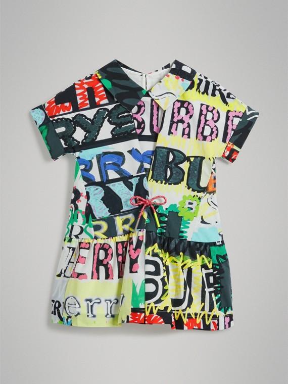 Baumwollkleid mit Logomuster in Graffiti-Optik und Zugbandverschluss (Mehrfarbig)