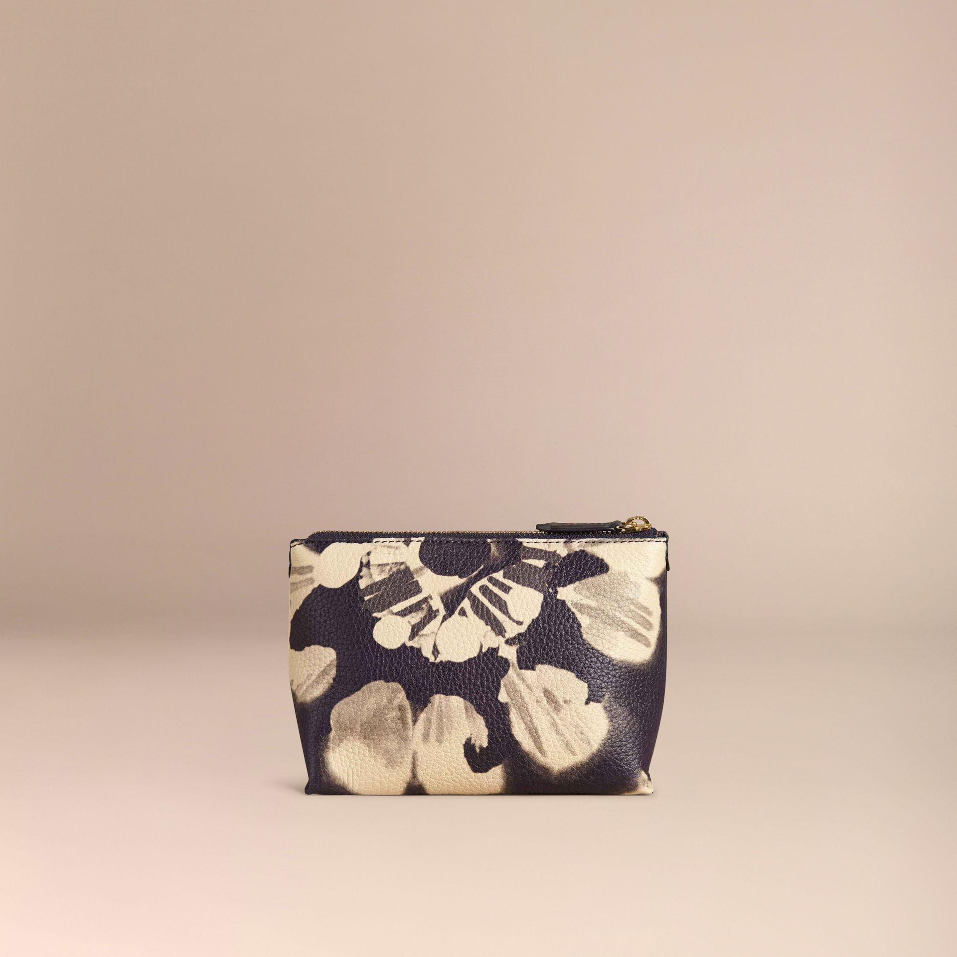 Stone Medium Floral Tie-dye Grainy Leather Beauty Pouch Stone - gallery image 4