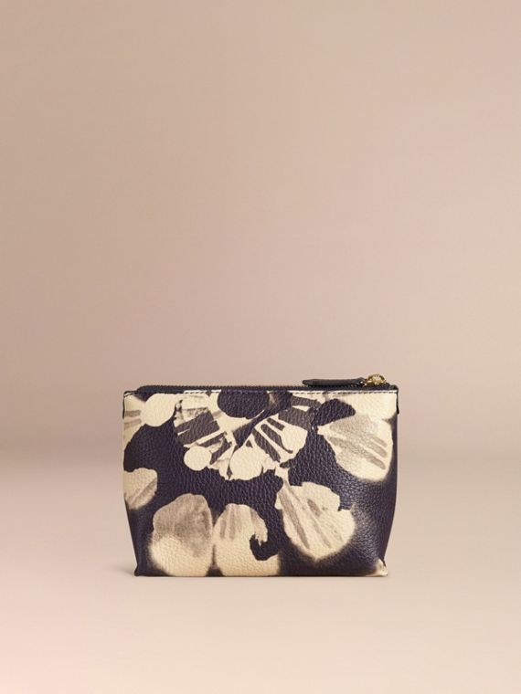Stone Medium Floral Tie-dye Grainy Leather Beauty Pouch Stone - cell image 3