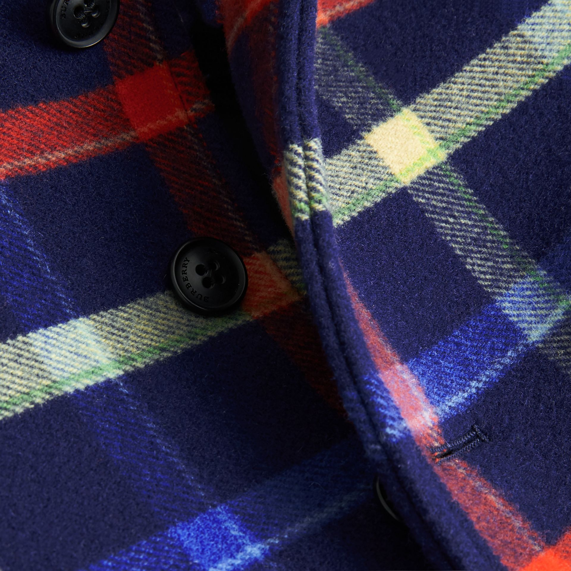 Check Double-faced Wool Coat in Navy - Children | Burberry - gallery image 1