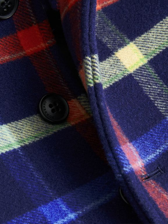 Check Double-faced Wool Coat in Navy | Burberry - cell image 1