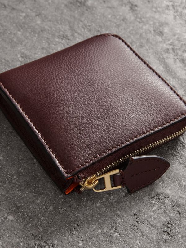 Grainy Leather Square Ziparound Wallet in Deep Claret - Women | Burberry Canada - cell image 2
