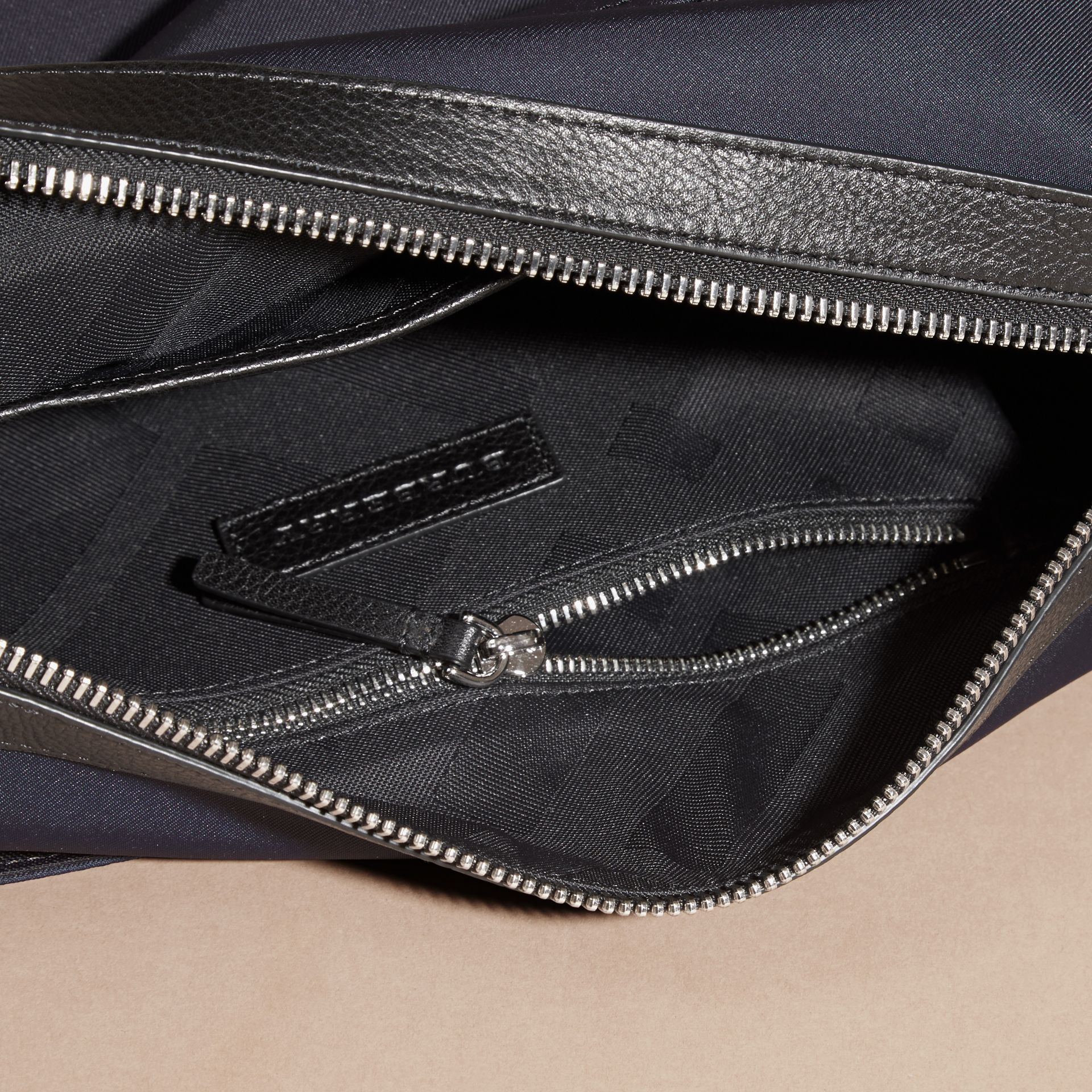 Dark navy Leather Trim Messenger Bag Dark Navy - gallery image 5