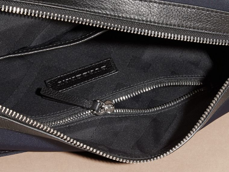 Dark navy Leather Trim Messenger Bag Dark Navy - cell image 4
