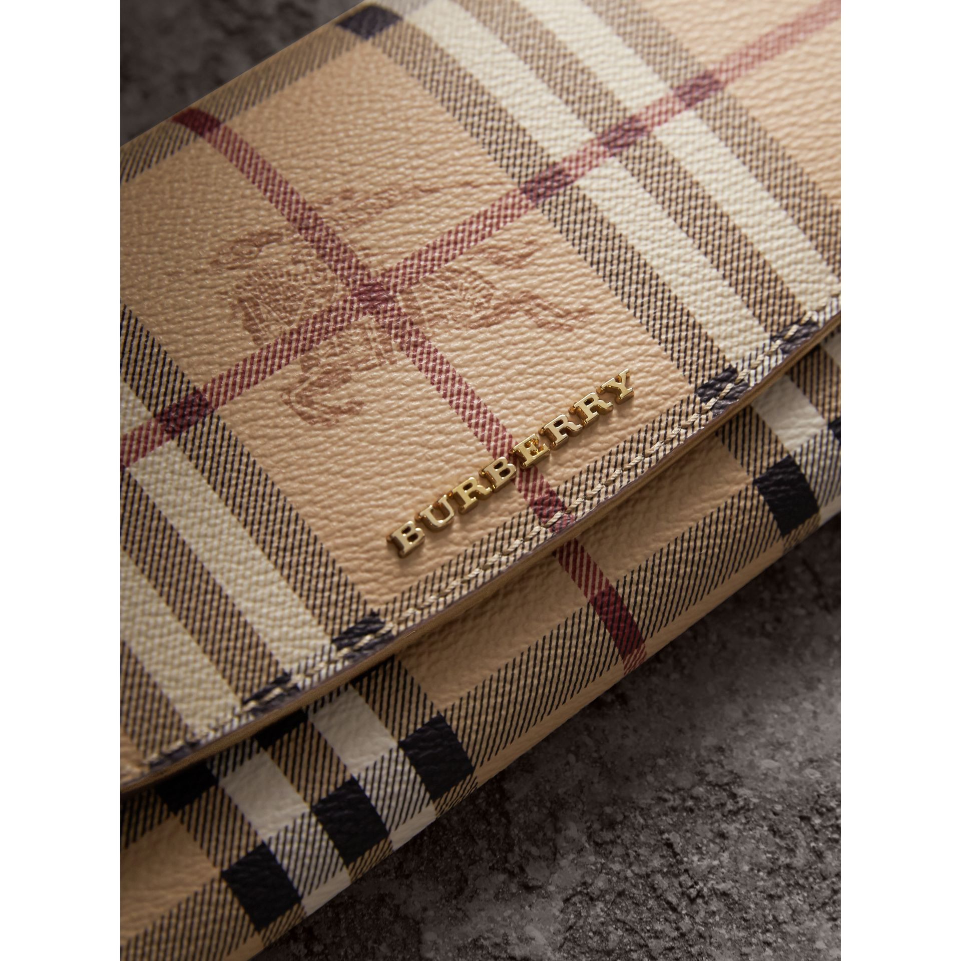 Haymarket Check and Leather Slim Continental Wallet in Mid Camel - Women | Burberry Australia - gallery image 1