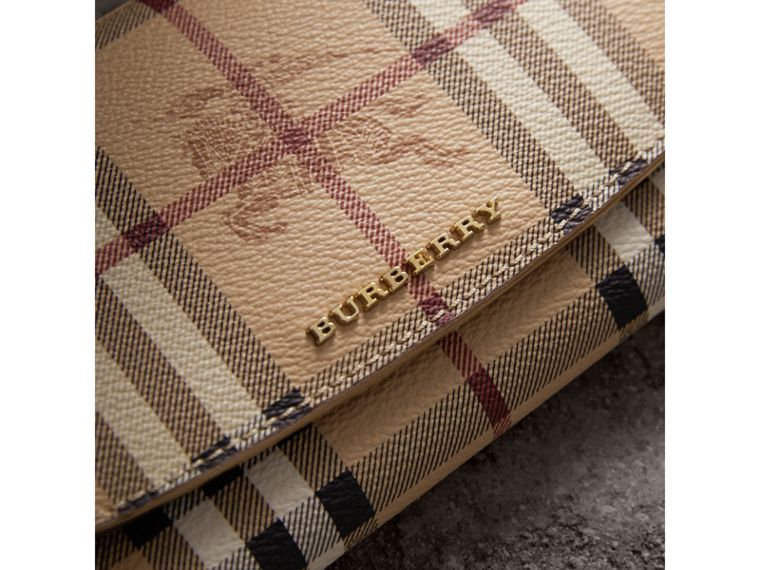 Haymarket Check and Leather Slim Continental Wallet in Mid Camel - Women | Burberry Australia - cell image 1