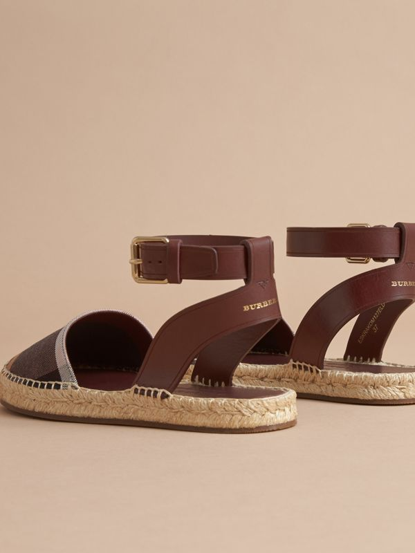 Leather and Check Linen Cotton Espadrille Sandals in Cerise Purple | Burberry United States - cell image 3