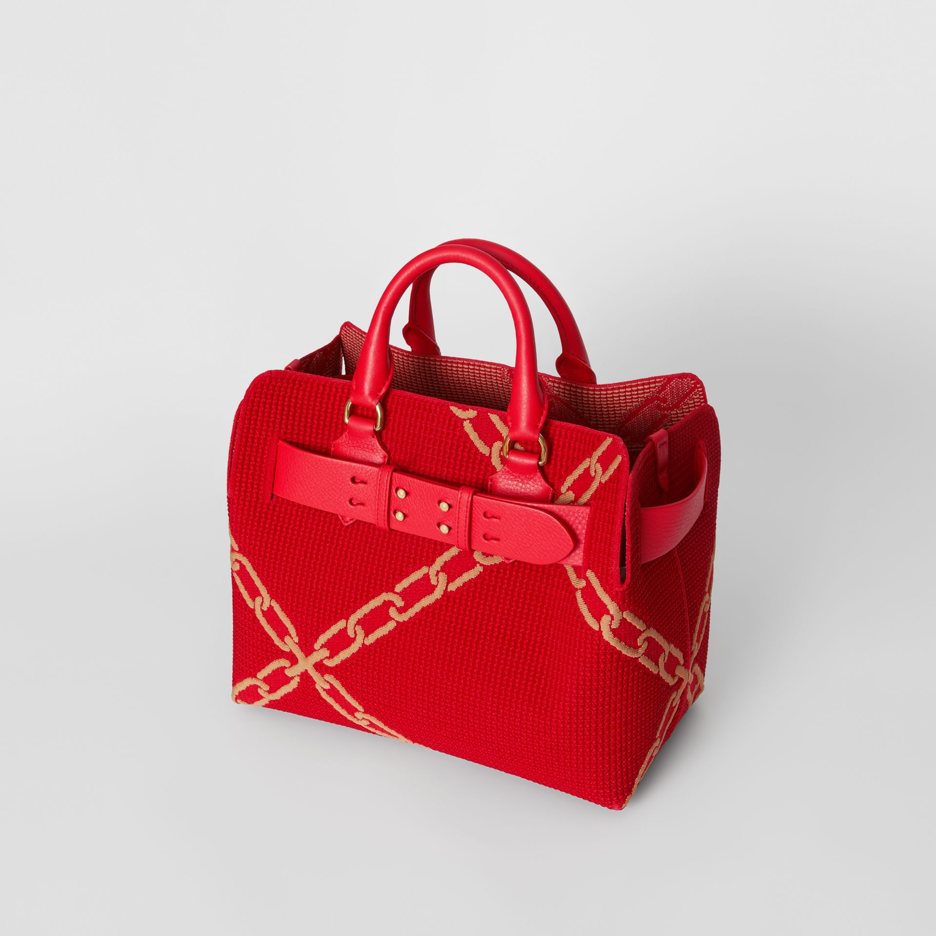 The Small Belt Bag mit Kettenmuster in Strickoptik (Leuchtendes Rot/helles Camelfarben) - Damen | Burberry - Galerie-Bild 2