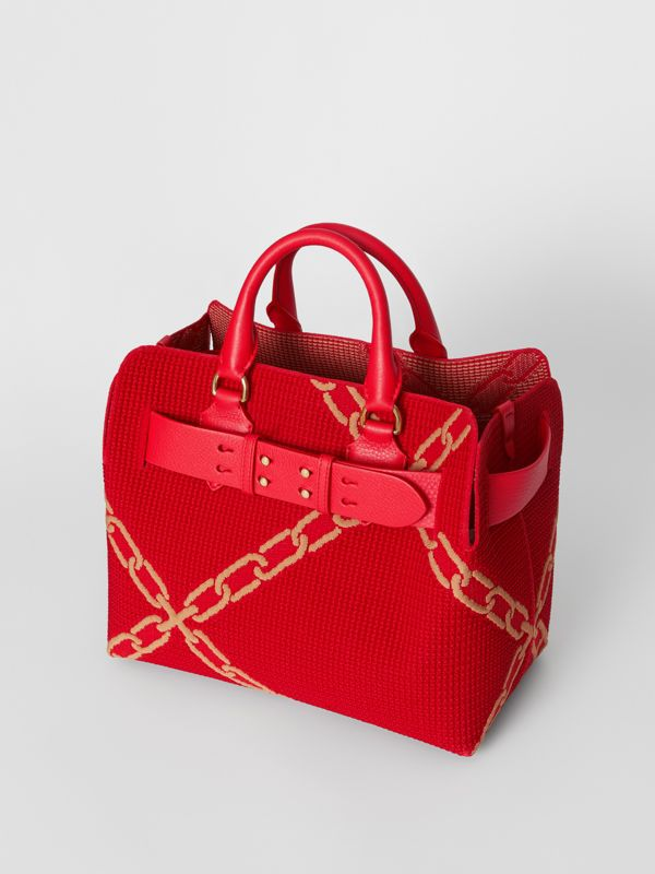 The Small Knitted Link Belt Bag in Bright Red/light Camel - Women | Burberry - cell image 3
