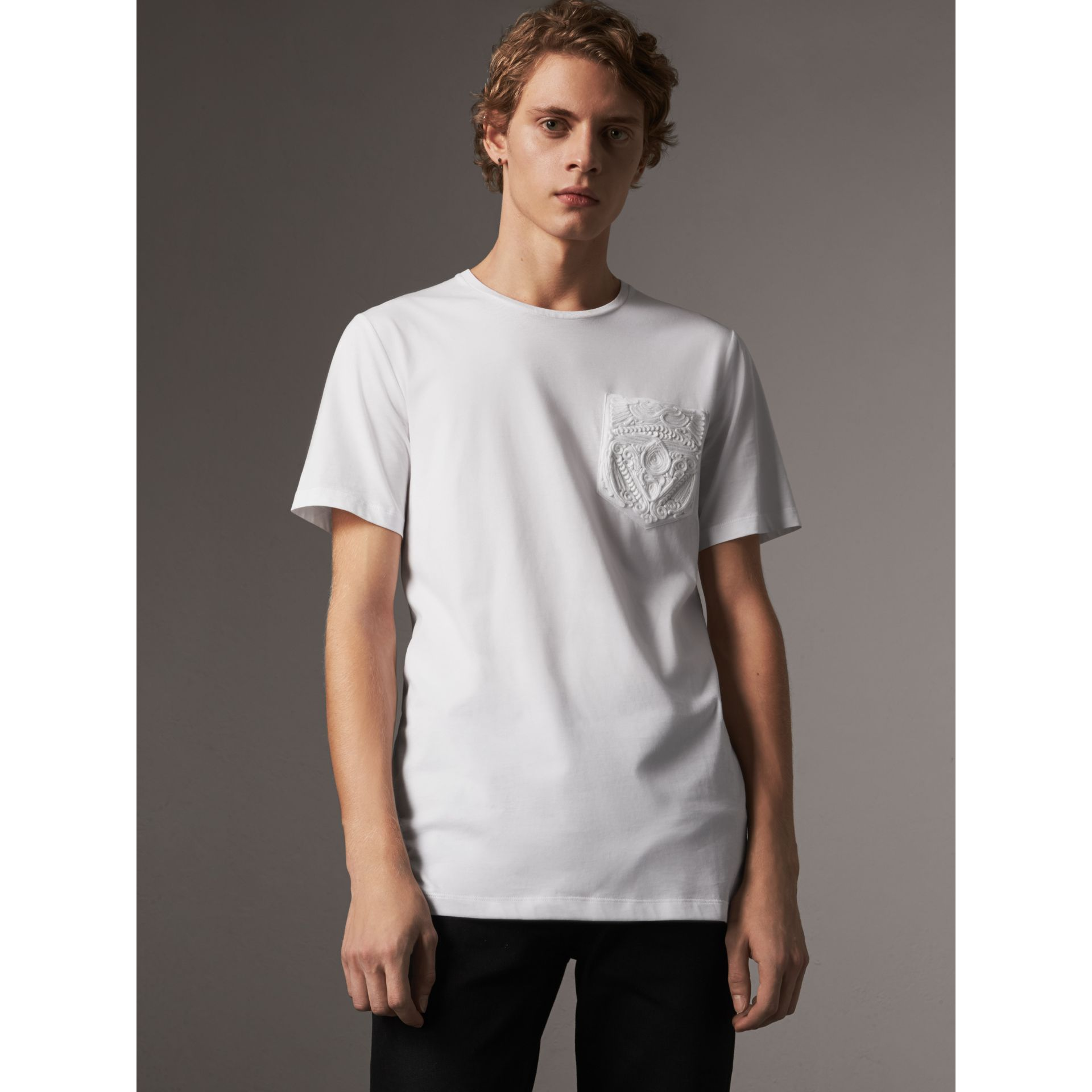 Rope Embroidered Pocket Cotton T-shirt in White - Men | Burberry - gallery image 1