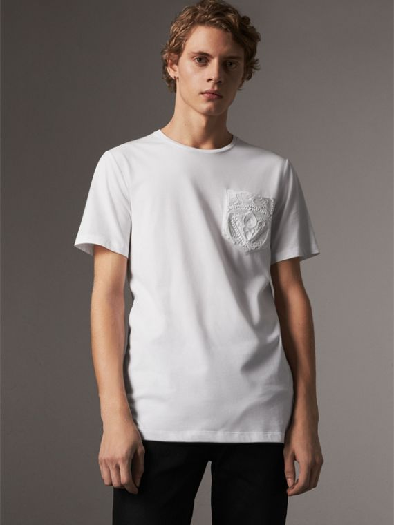 Rope Embroidered Pocket Cotton T-shirt in White