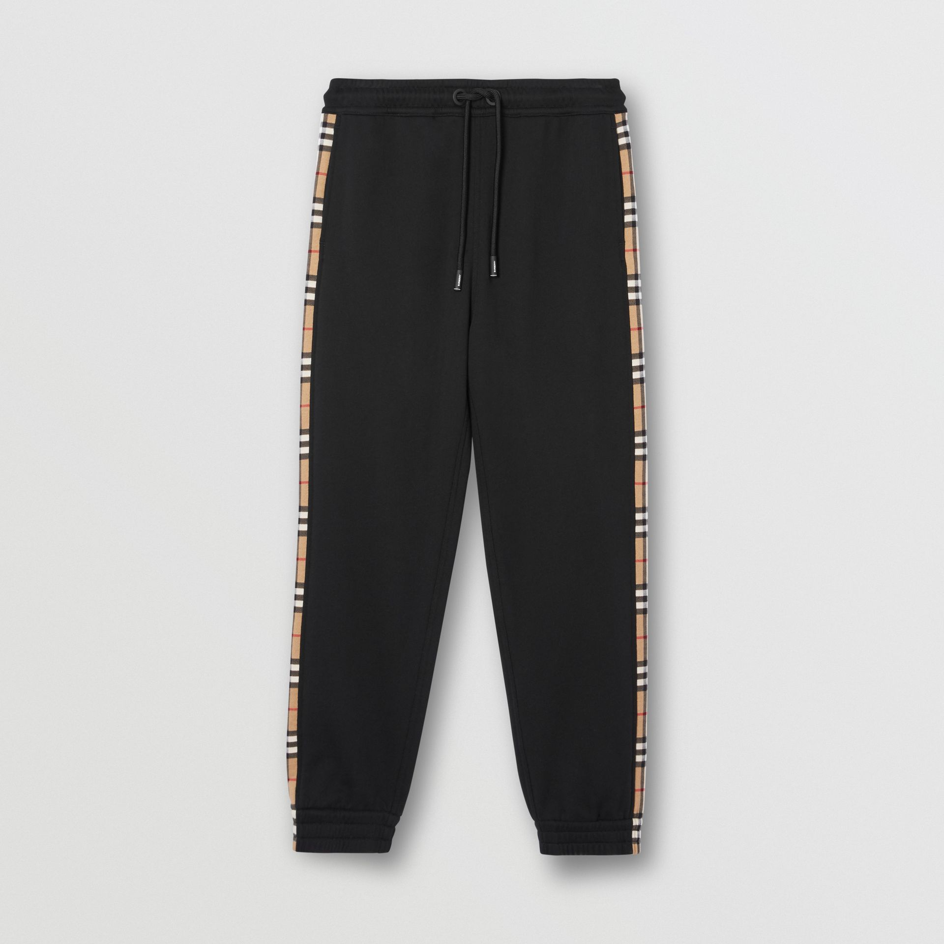 Vintage Check Panel Cotton Trackpants in Black - Men | Burberry United Kingdom - gallery image 3