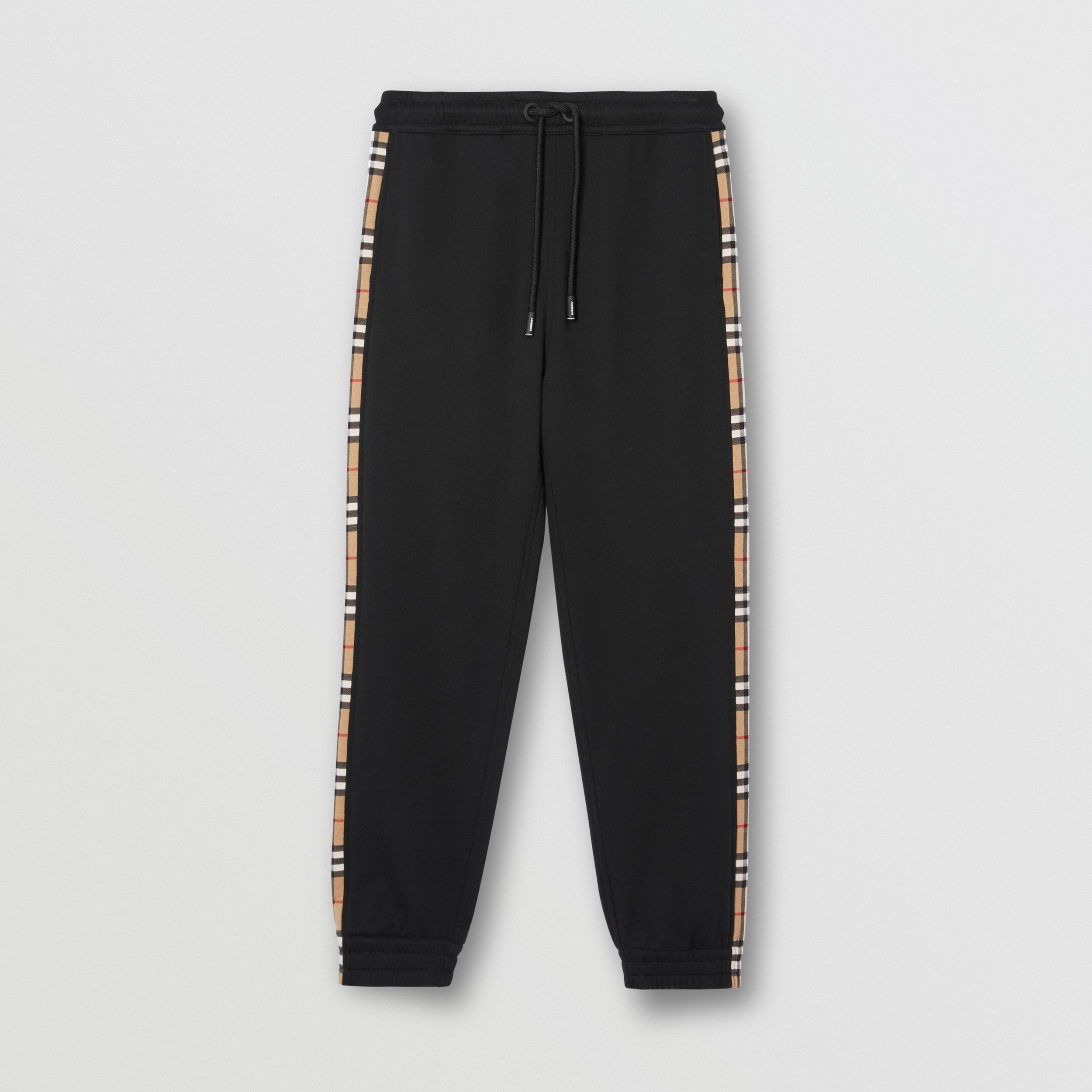 Vintage Check Panel Cotton Jogging Pants in Black - Men | Burberry - 4