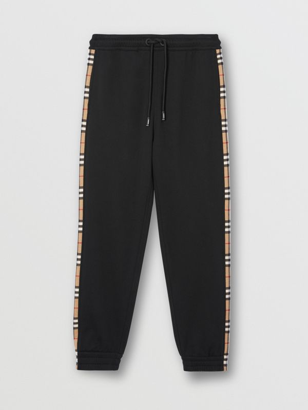 Vintage Check Panel Cotton Trackpants in Black - Men | Burberry United Kingdom - cell image 3