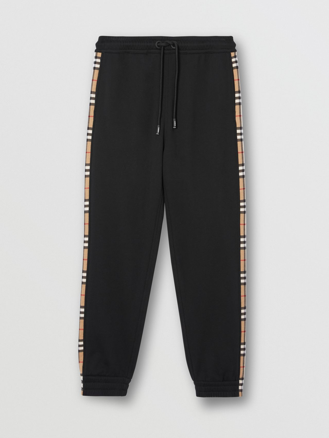 Vintage Check Panel Cotton Trackpants in Black