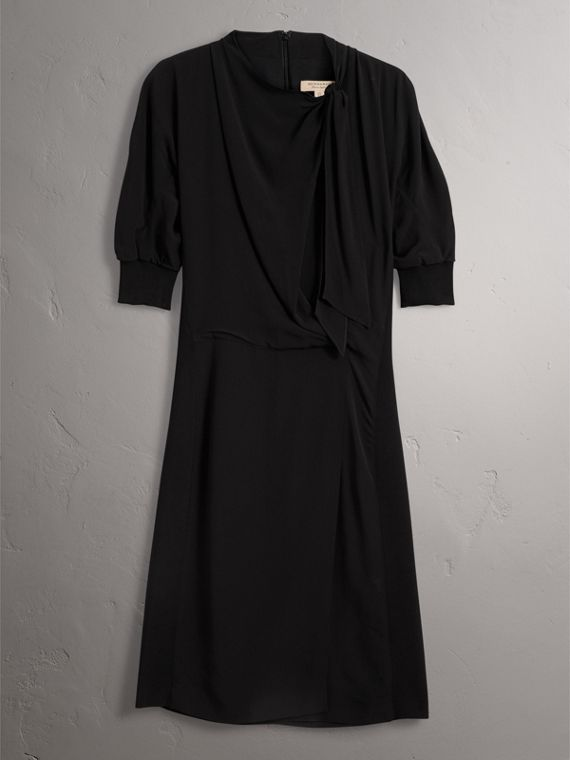 Pussy-bow Crepe Dress in Black - Women | Burberry United States - cell image 3