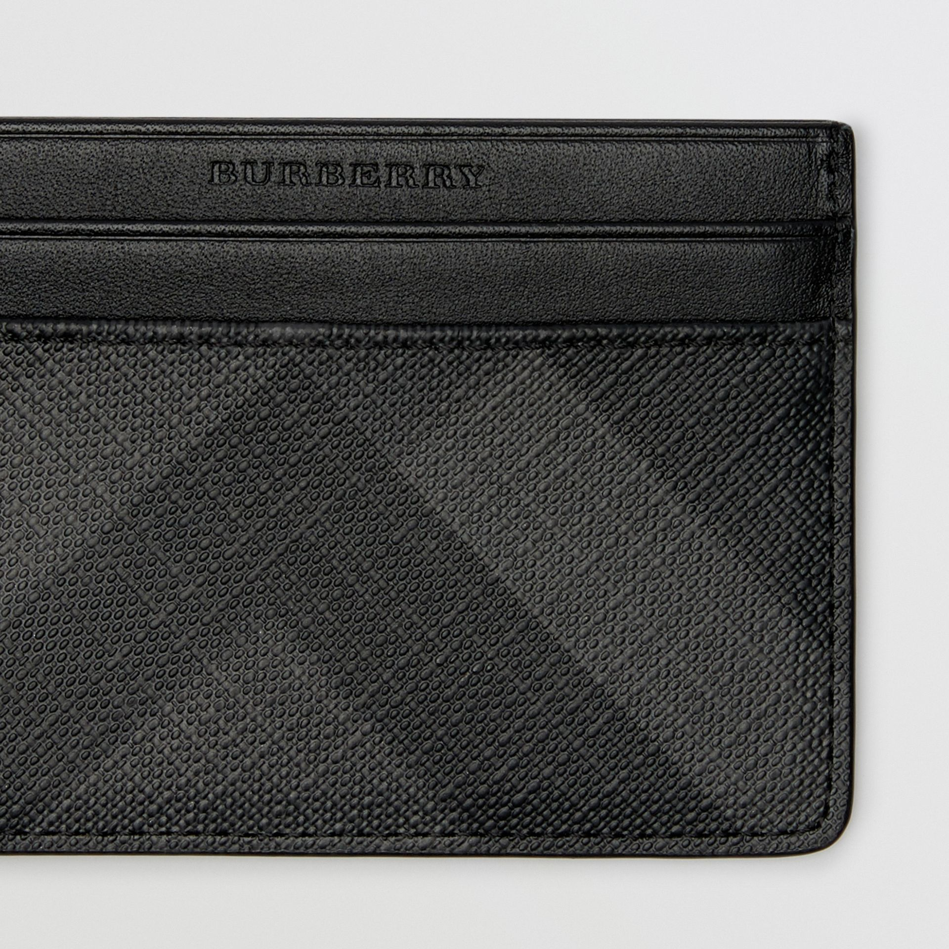 London Check Card Case in Charcoal/black - Men | Burberry Australia - gallery image 1