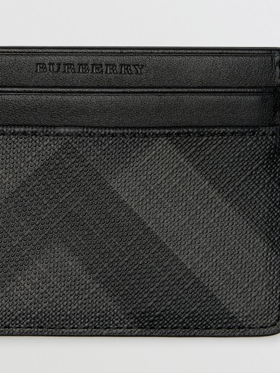 London Check Card Case in Charcoal/black - Men | Burberry Australia - cell image 1