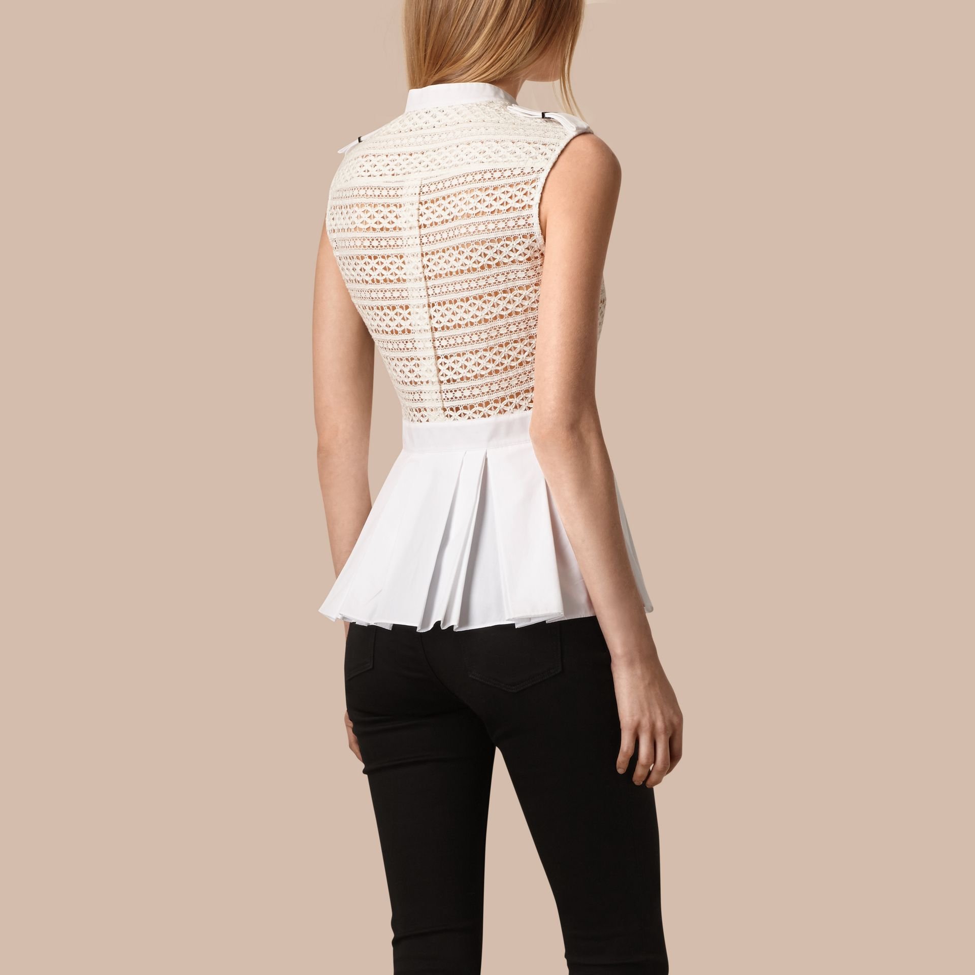 White Sleeveless Italian Lace Peplum Top - gallery image 2