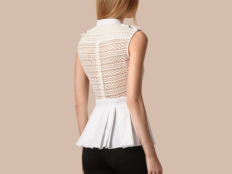 White Sleeveless Italian Lace Peplum Top - cell image 1