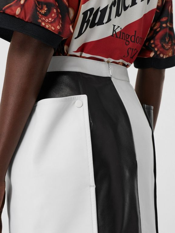 Pocket Detail Two-tone Lambskin Mini Skirt in Black/white - Women | Burberry - cell image 1