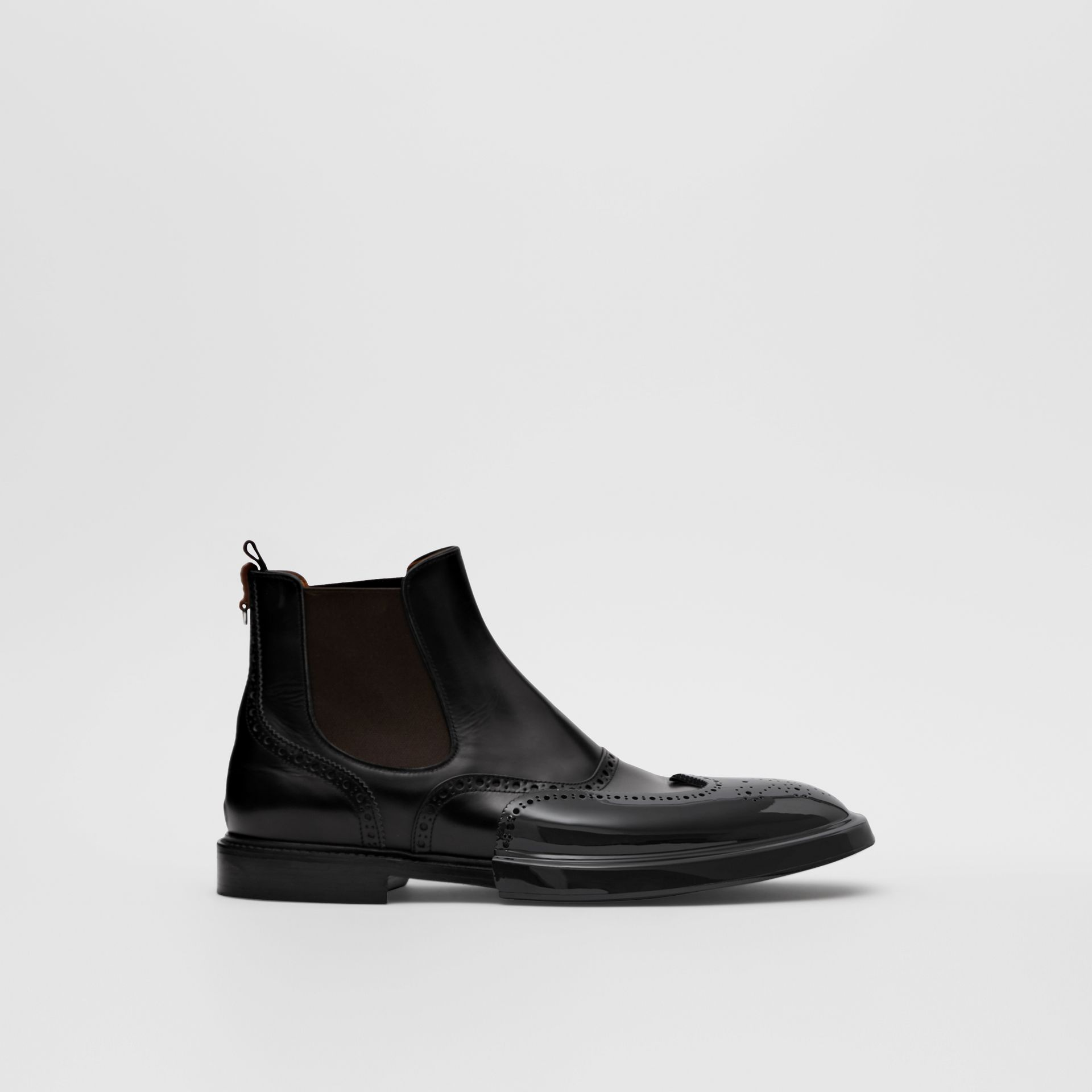 Toe Cap Detail Leather Chelsea Boots in Black | Burberry United States - gallery image 4