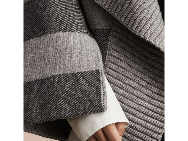 Check Wool Cashmere Blend Cardigan Coat in Pale Grey Melange - Women | Burberry - cell image 1