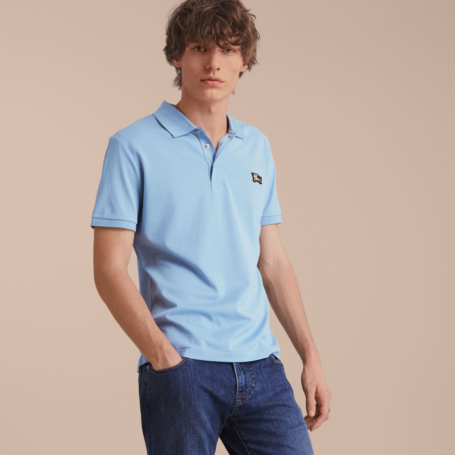 Fitted Mercerised Cotton-Piqué Polo Shirt Powder Blue - gallery image 6
