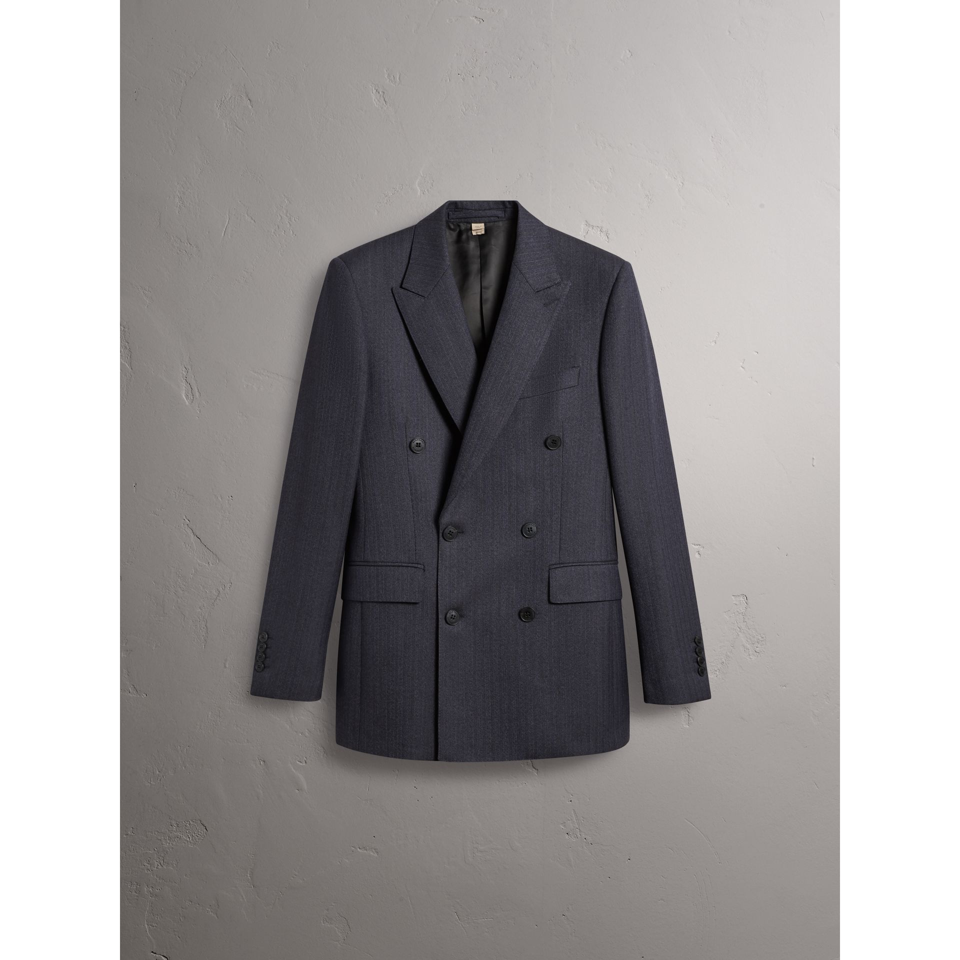 Slim Fit Double-breasted Herringbone Wool Suit in Ink Blue - Men | Burberry - gallery image 4